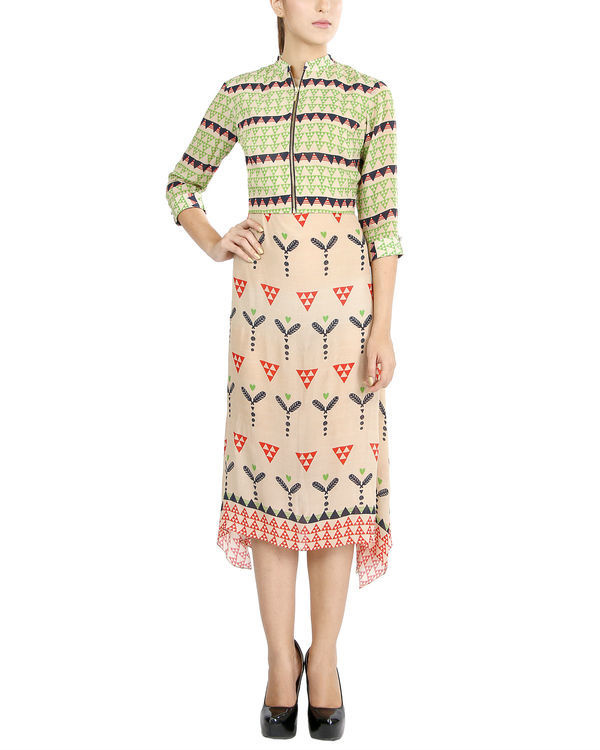 Dual print handkerchief dress