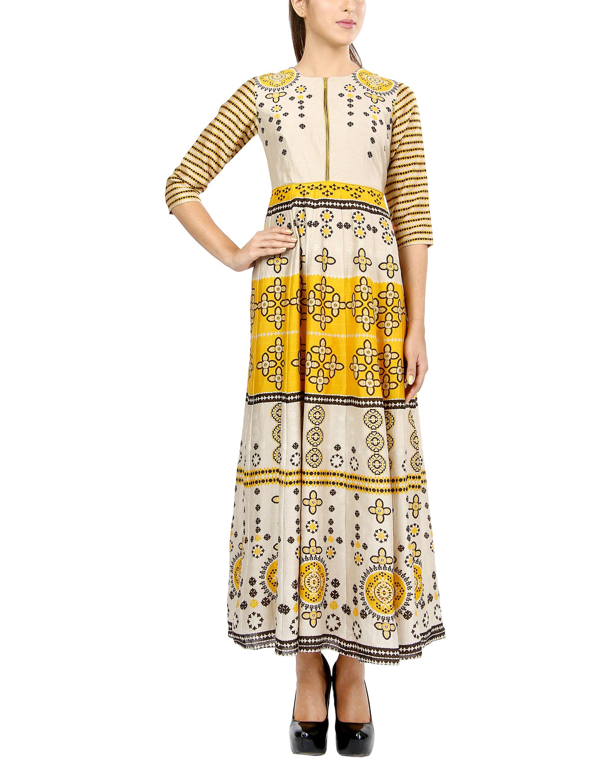 Mustard zipped dress