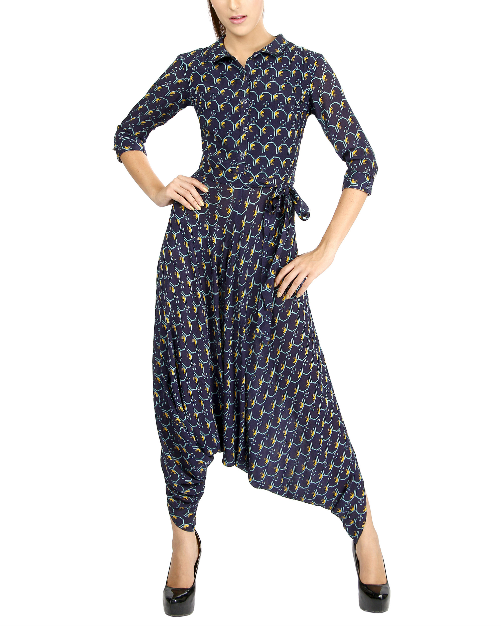 Navy bird print jumpsuit