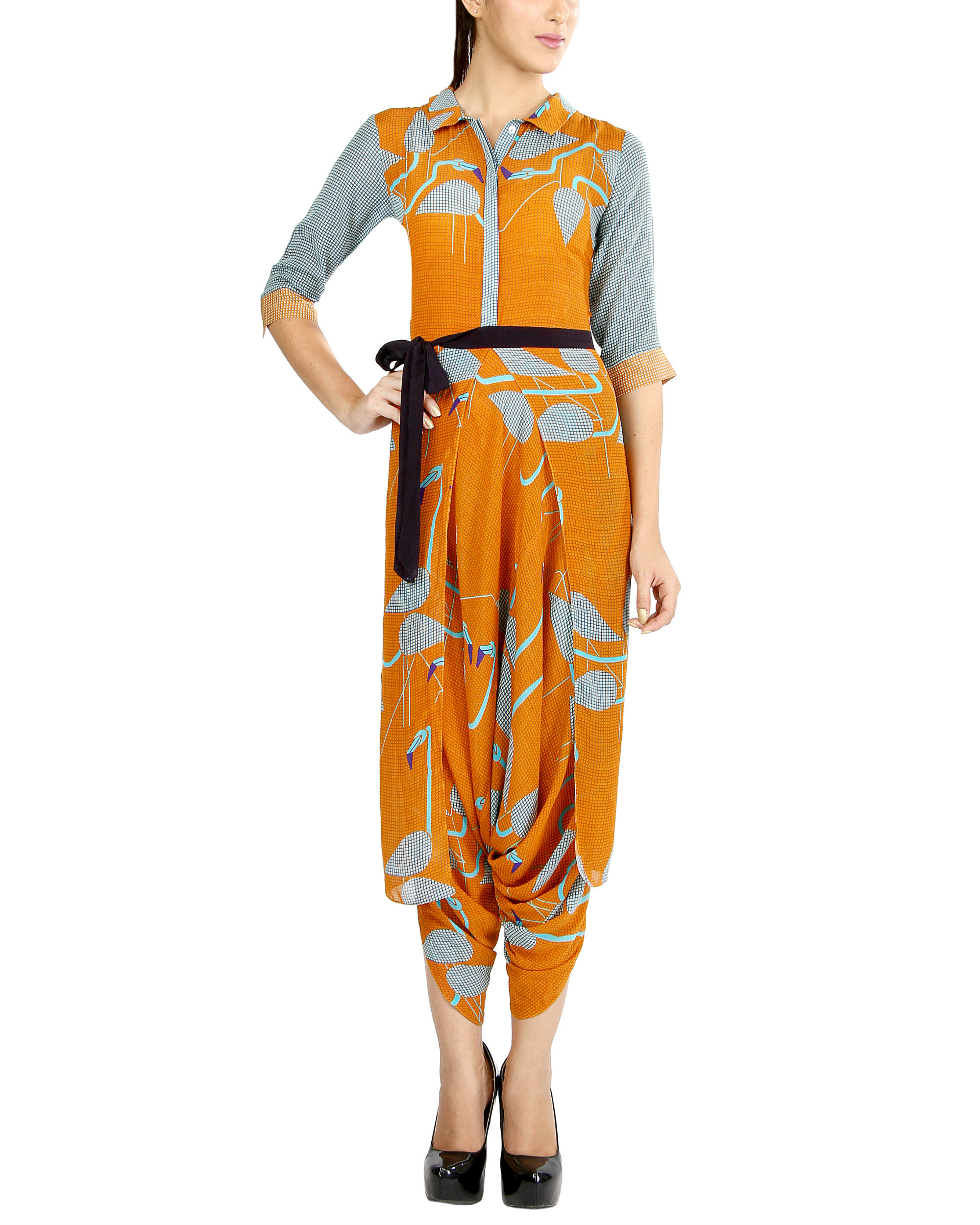 Orange flamingo jumpsuit