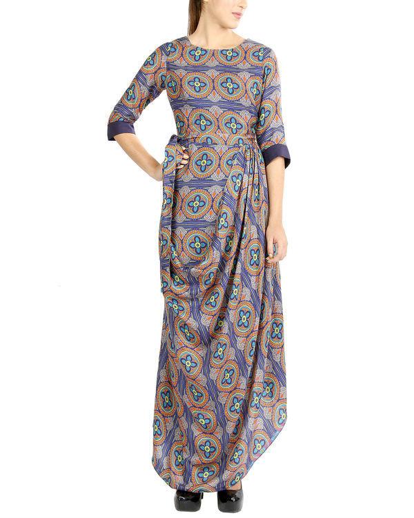 Colourful draped dress