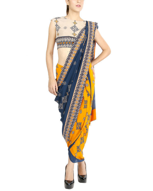Mustard and blue draped sari