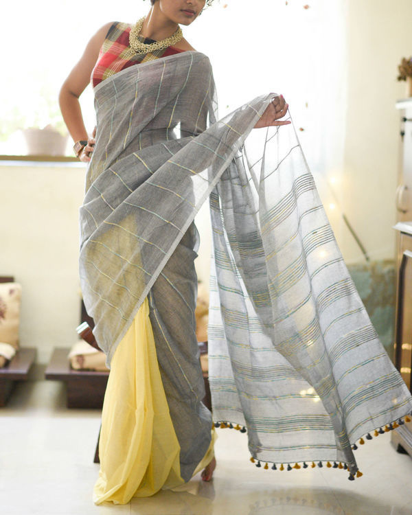 Platinum and butterscotch sari