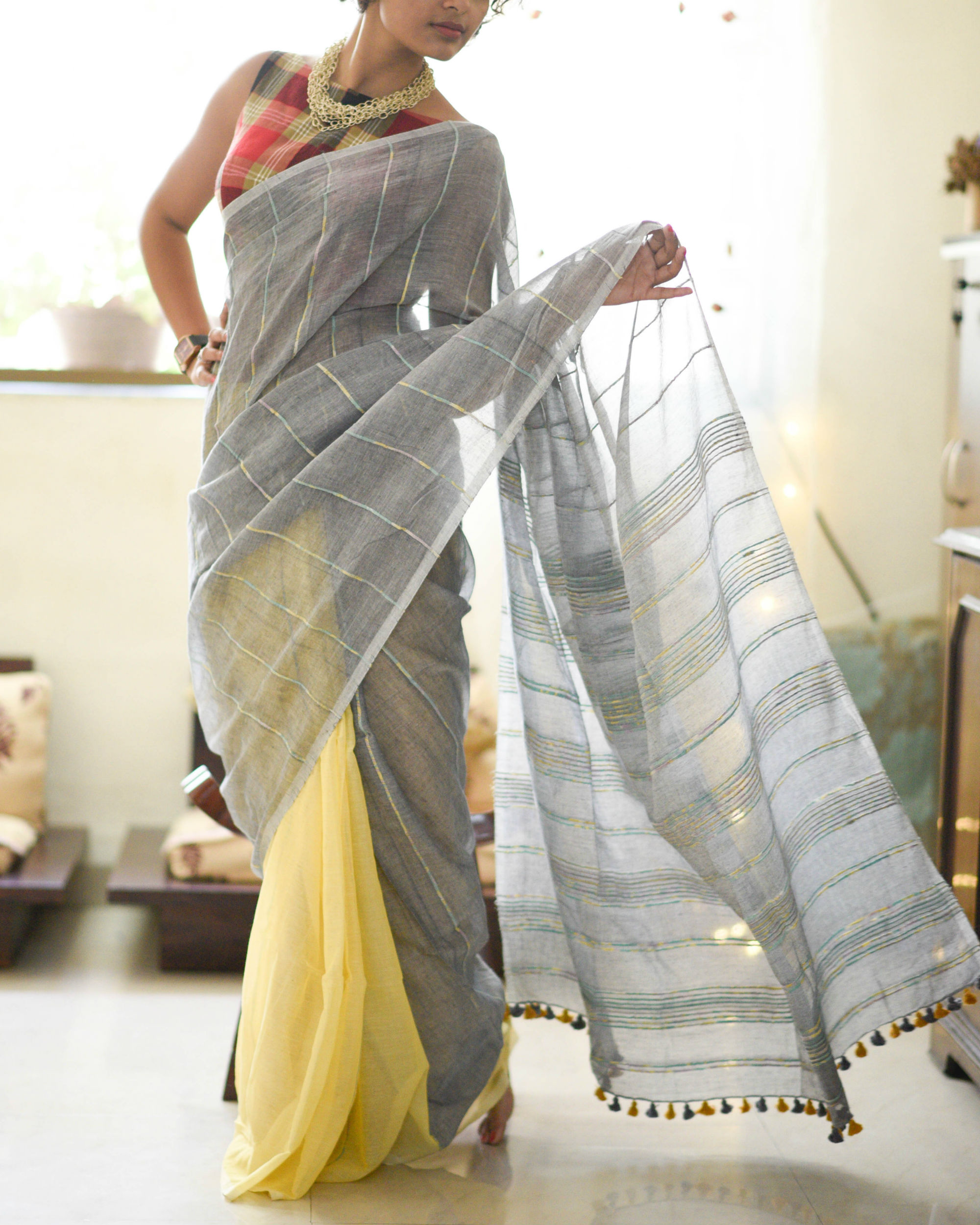 Platinum and butterscotch sari
