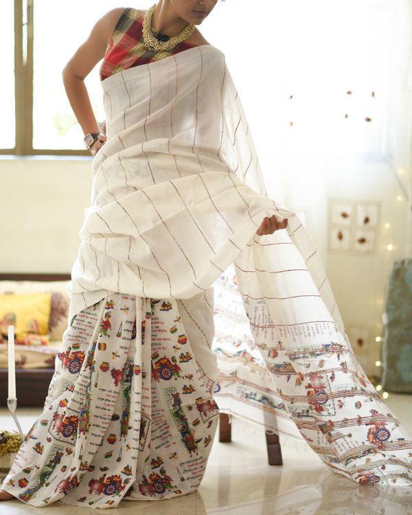 White manuscript sari