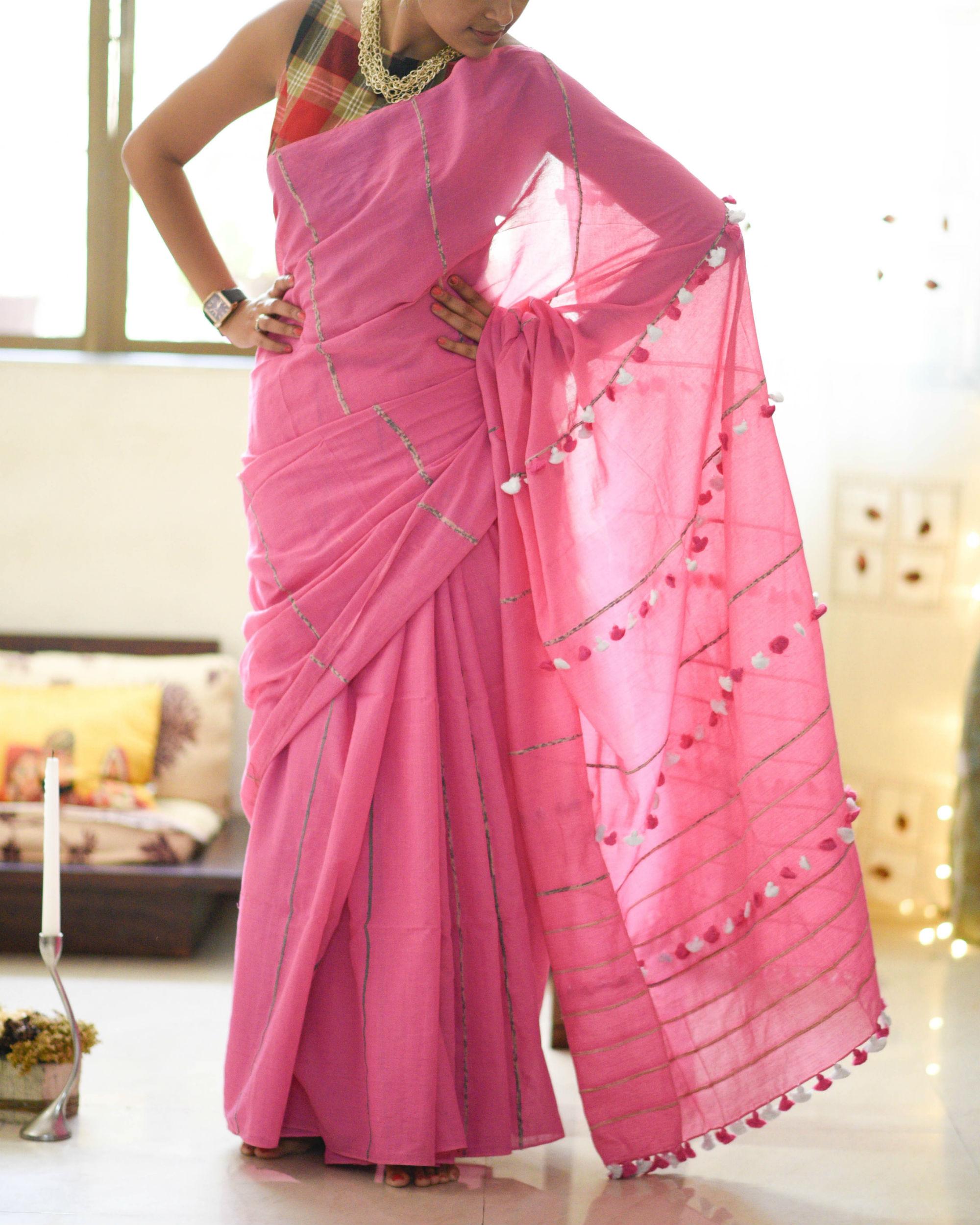 Lotus pink tassel sari