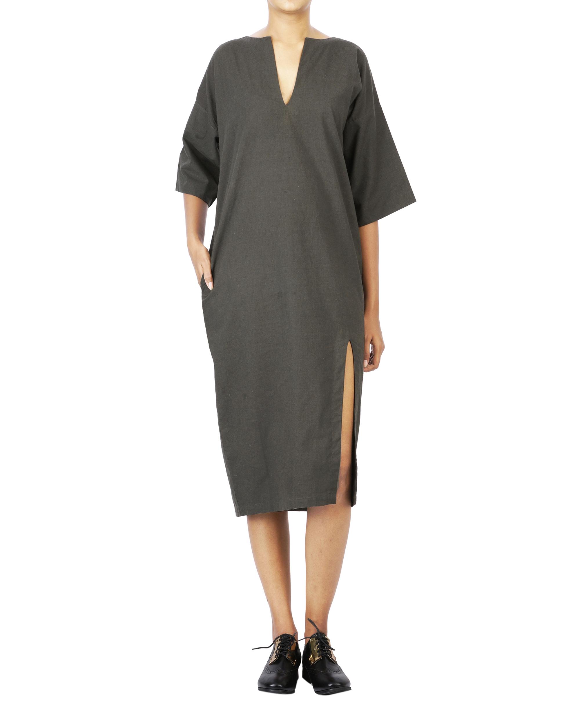 V neck high slit knee length dress