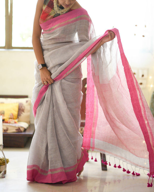 Lightening and pink sari