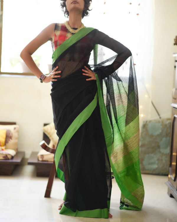 Parrot green and black sari