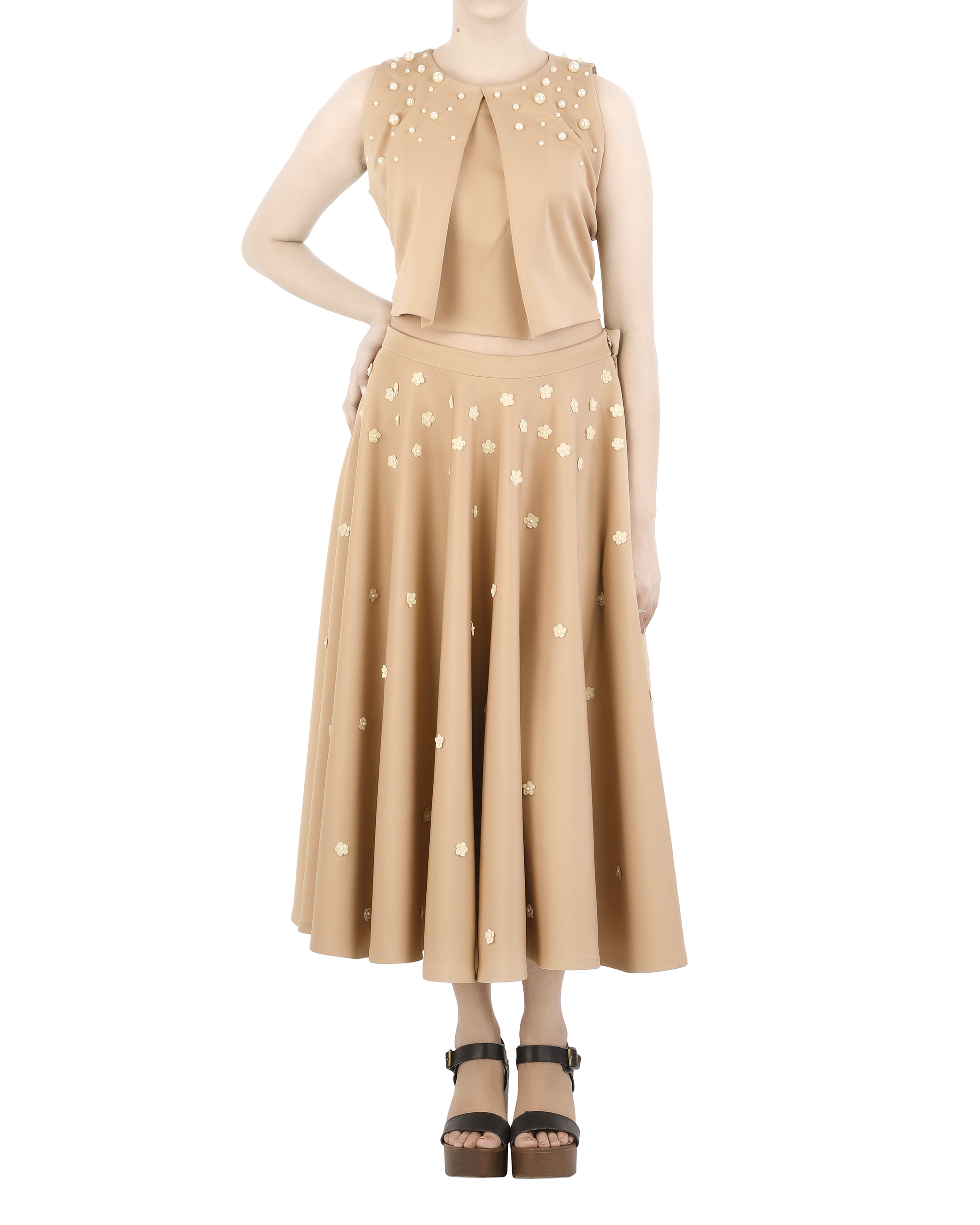 Neoprene circle skirt with floral applique by Archana Rao