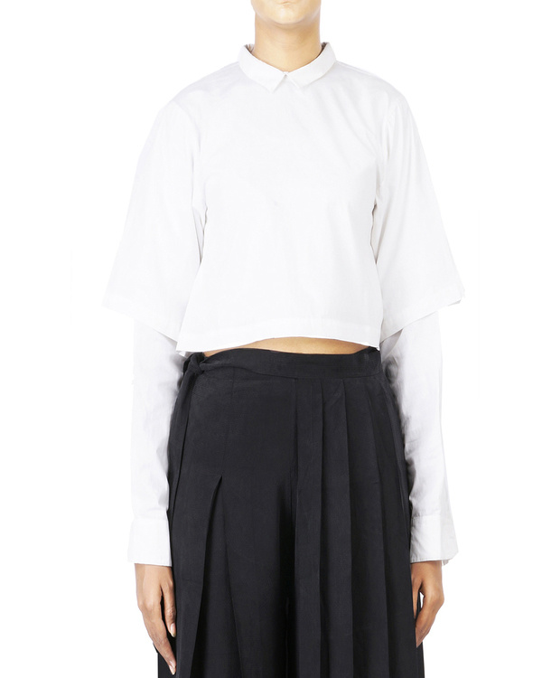 Double sleeved cropped shirt
