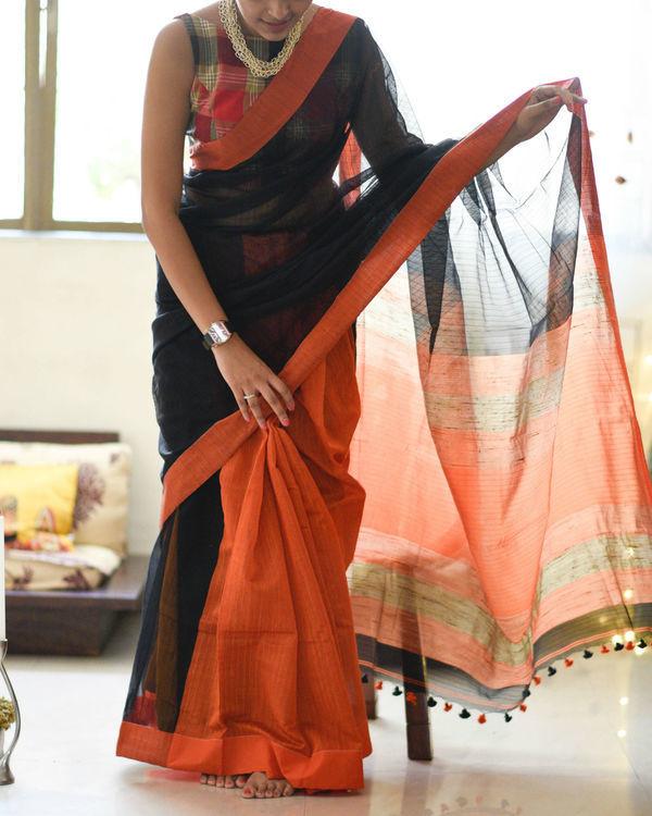 Orange and black handloom sari