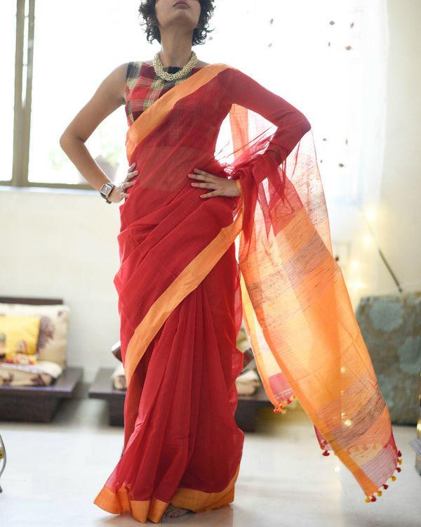 Cherry and marigold sari