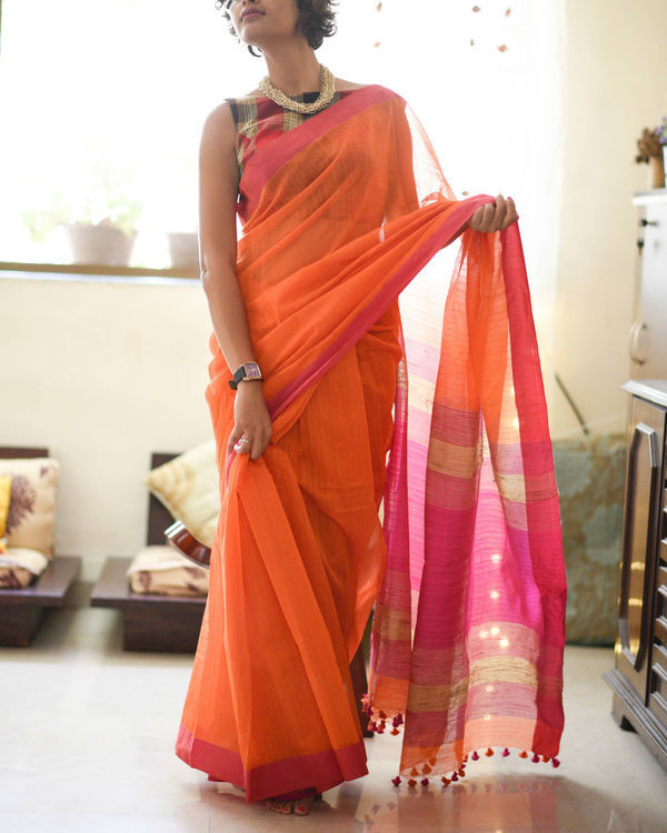 Rose and saffron sari