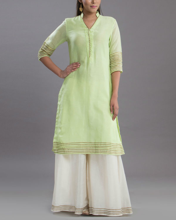 Pistachio and gold kurta