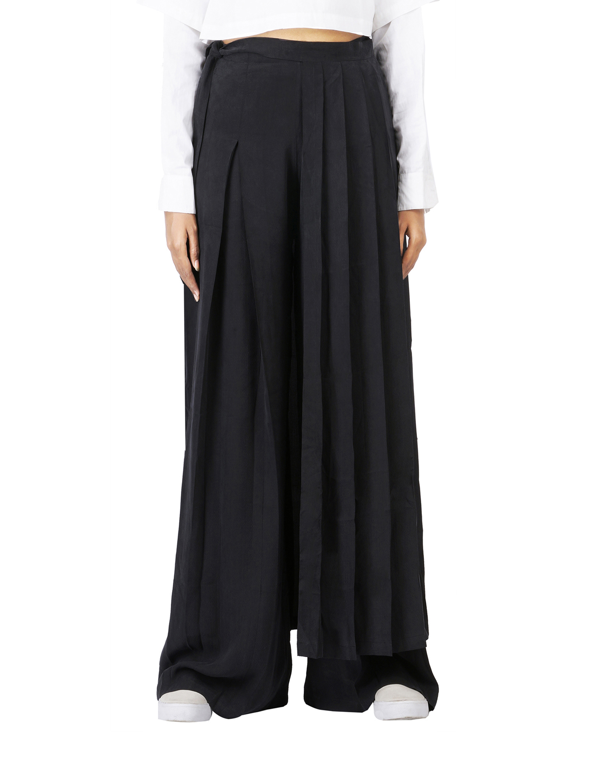 55db01228437c8 Black pleated wrap skirt by THREE | The Secret Label