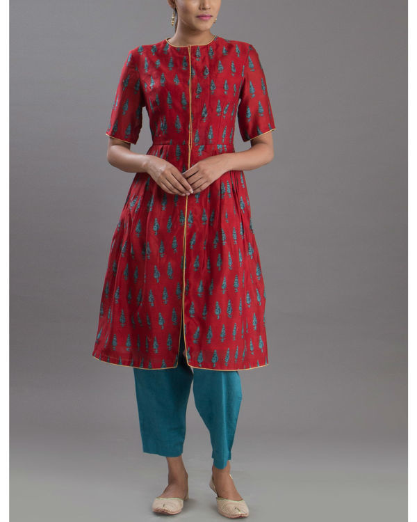 Deep red anarkali kurta