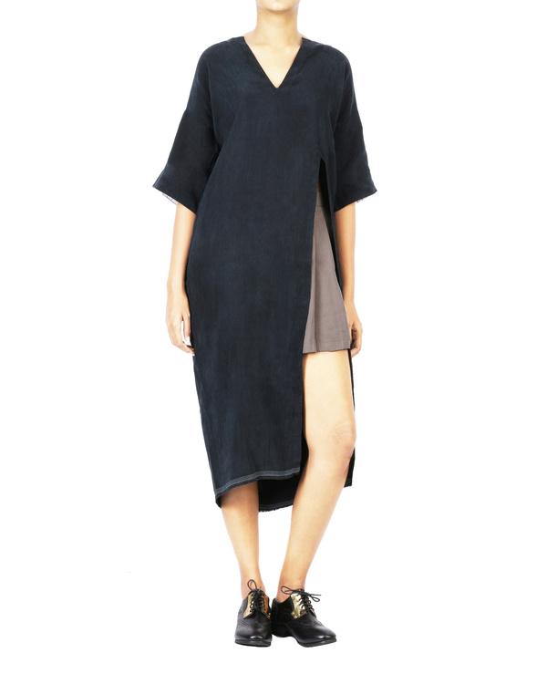 Charcoal black boho dress with side slit