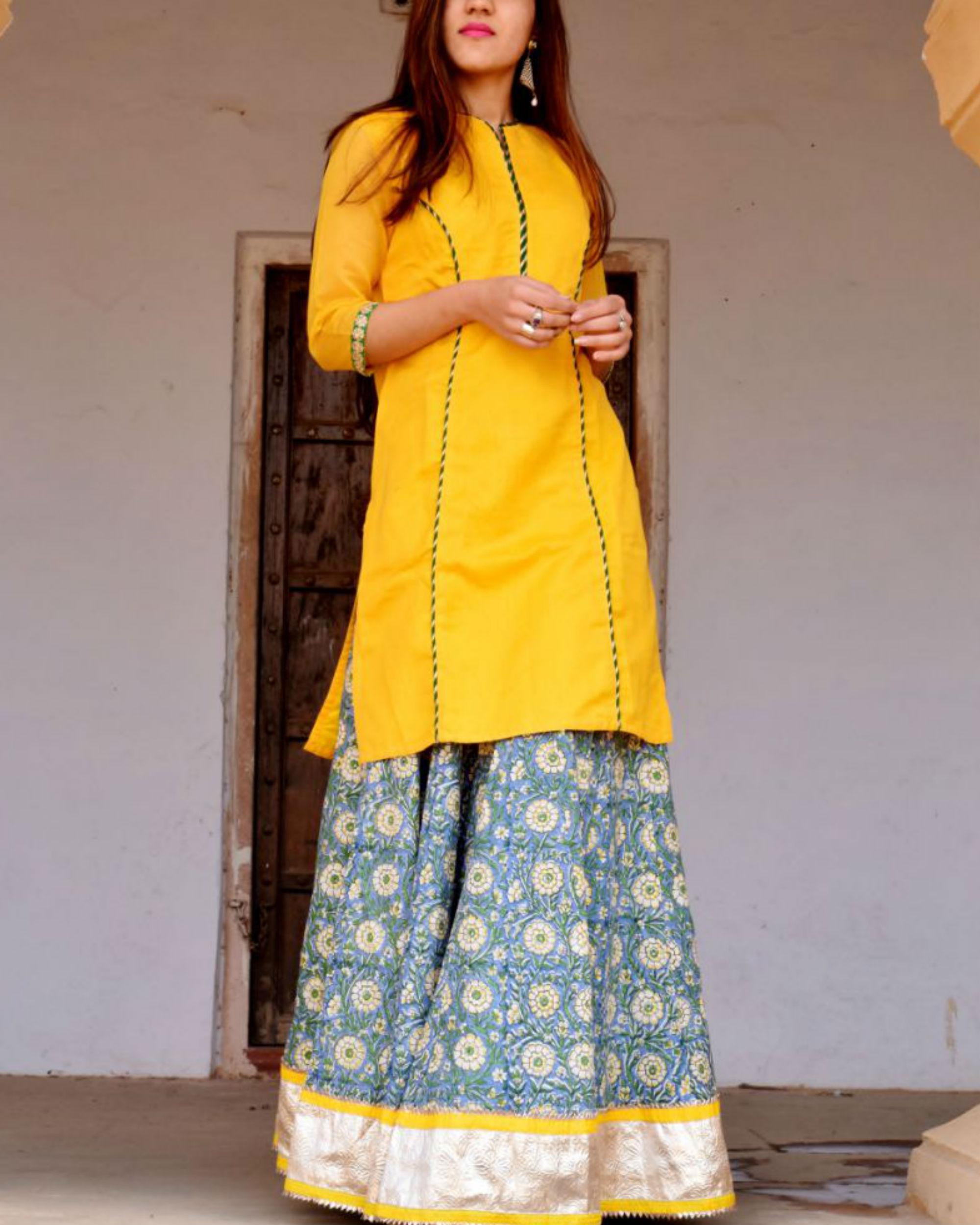 Mustard and blue skirt set