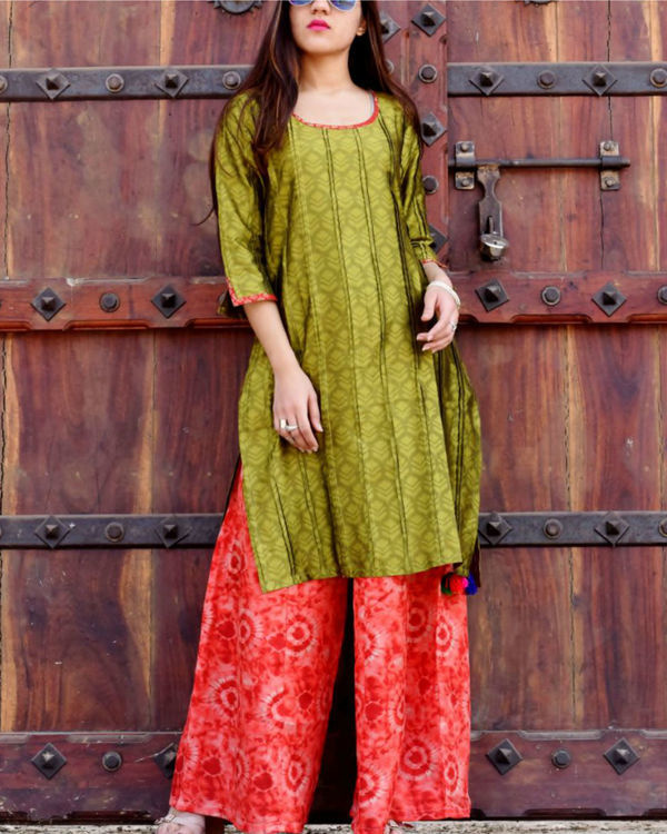 Olive silk tunic with palazzo