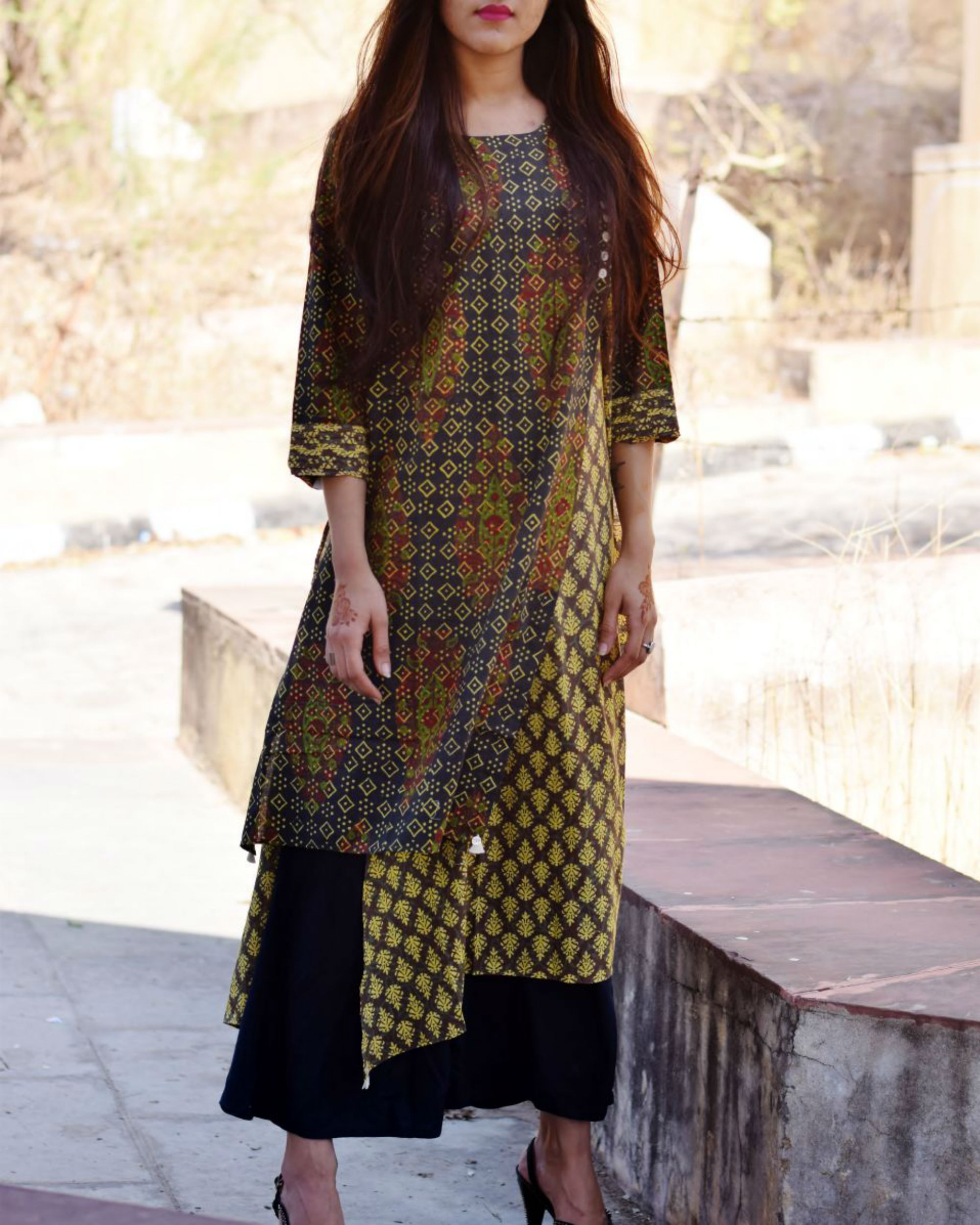 Block printed mirror tunic
