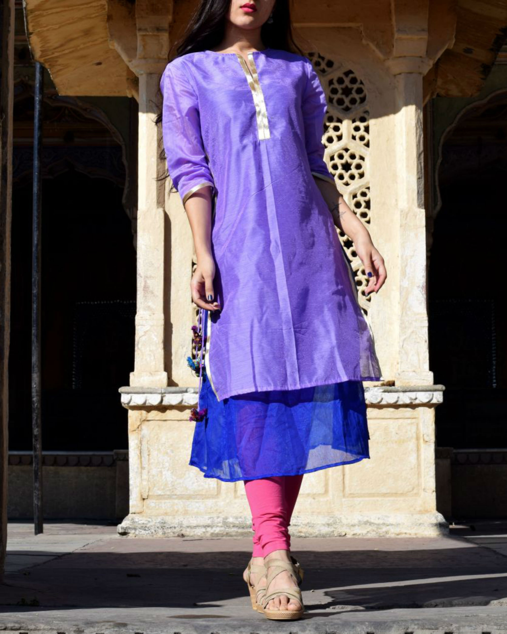 Lavender and blue tasseled tunic