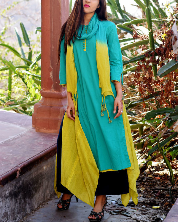 Turquoise and lime tunic with stole