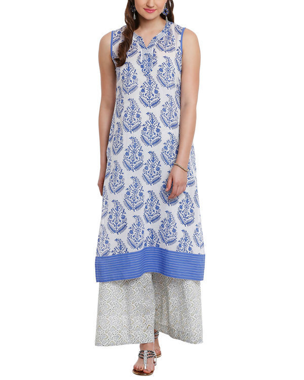 Blue leaf print tunic with palazzos