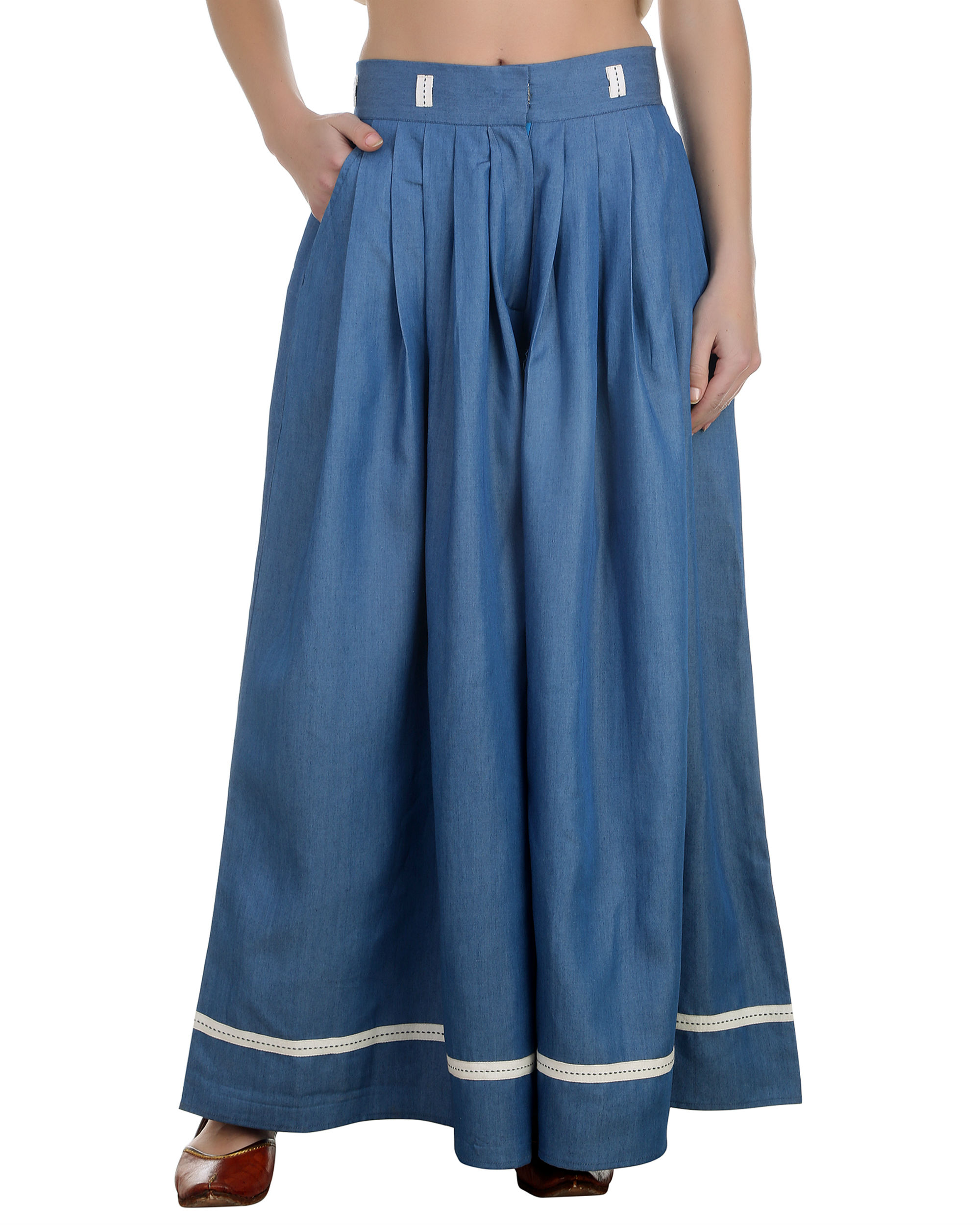 Denim pleated palazzos