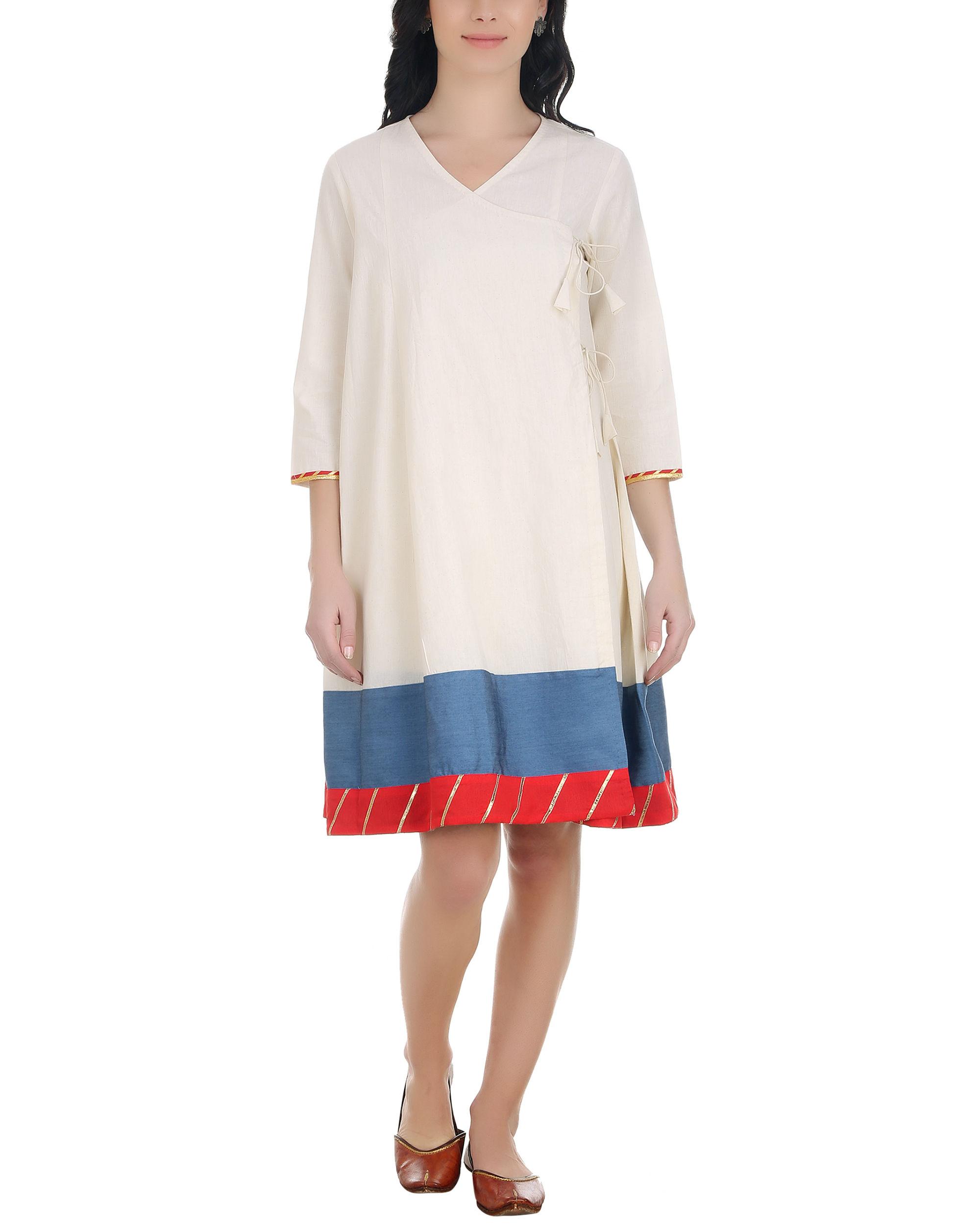 Denim border angrakha dress