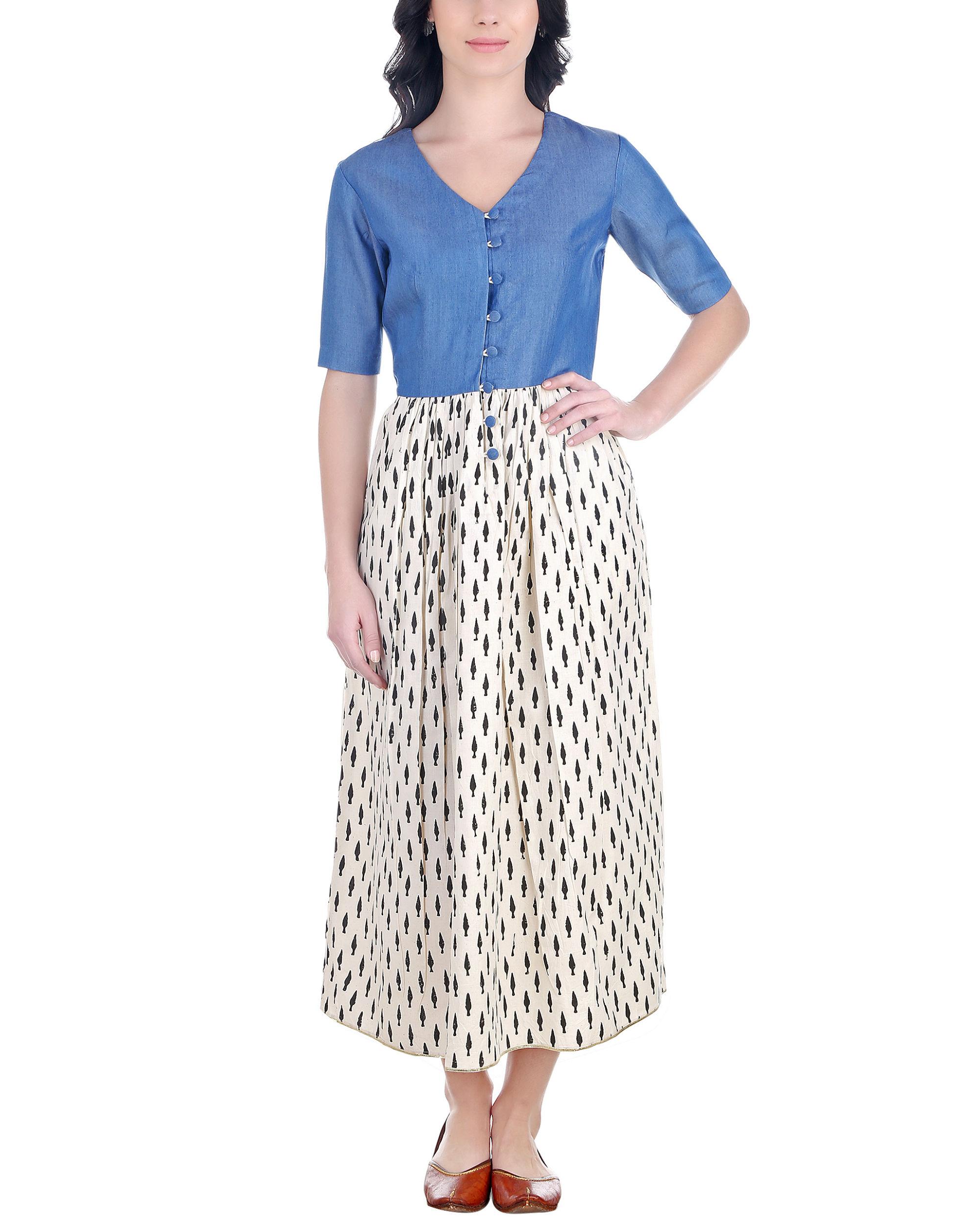 Denim and block print dress
