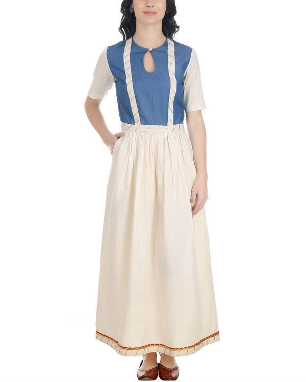 Denim and muslin gathered dress