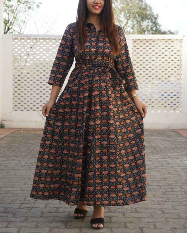 Black kalamkari flared maxi