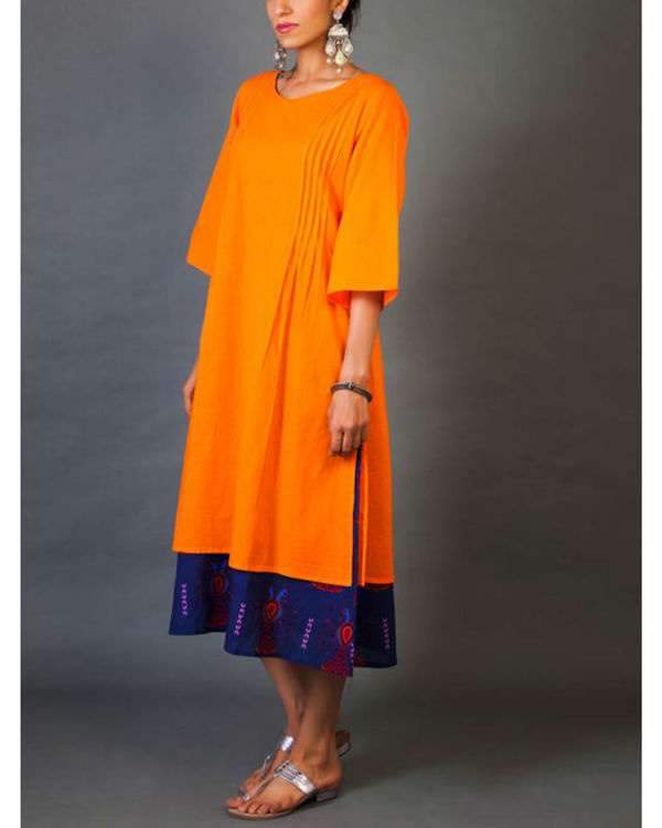 Tangerine faux layer dress