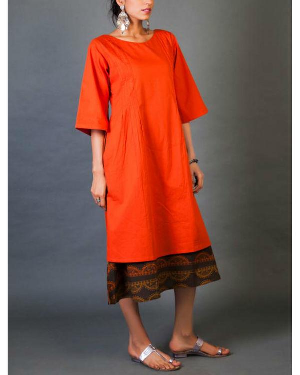 Crimson faux layered dress