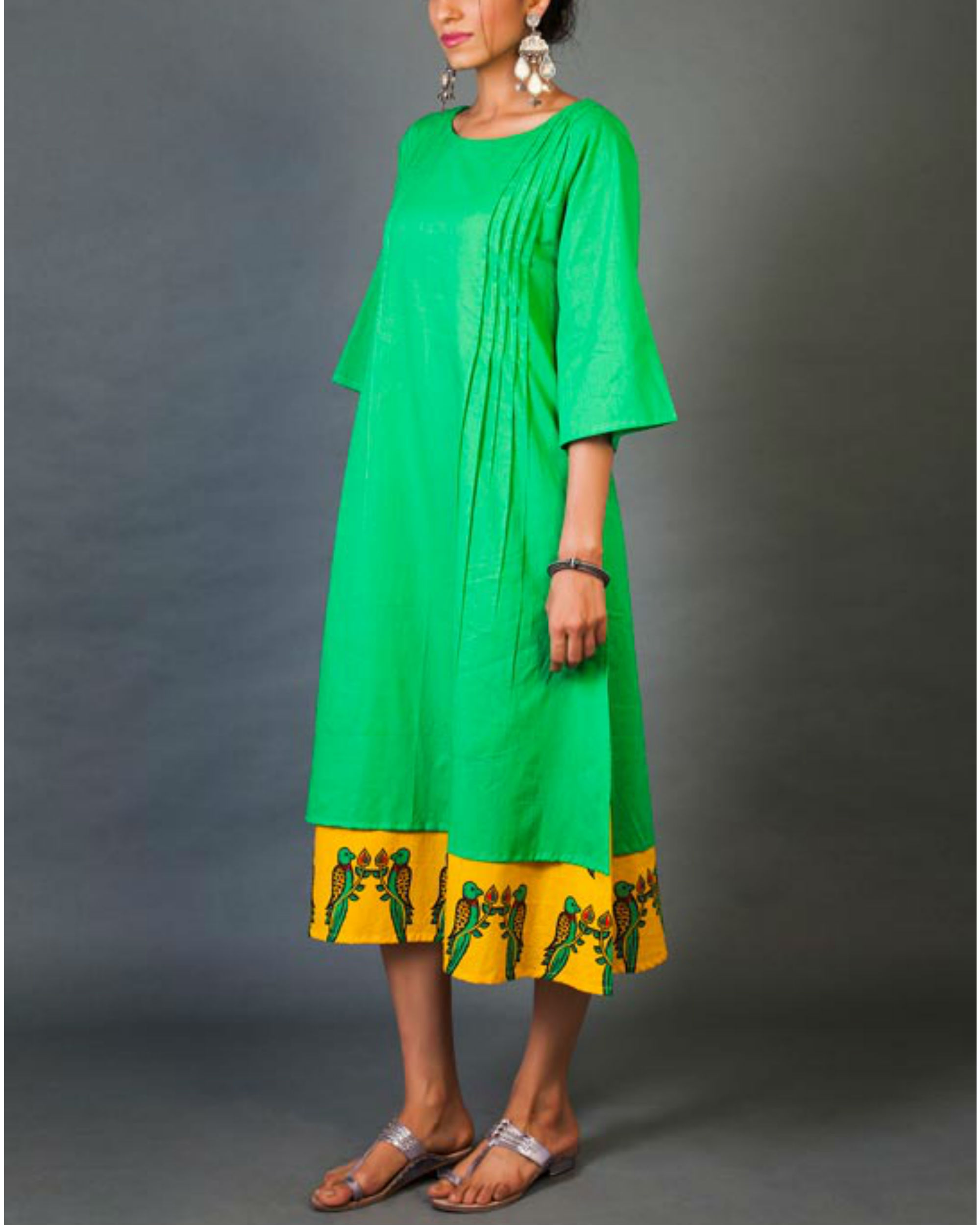 Green and yellow faux layered dress