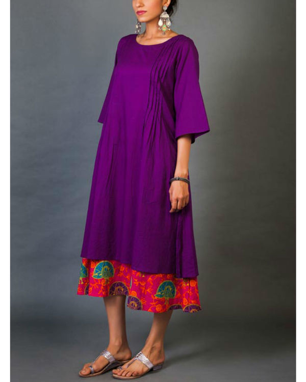 Violet and pink faux layered dress