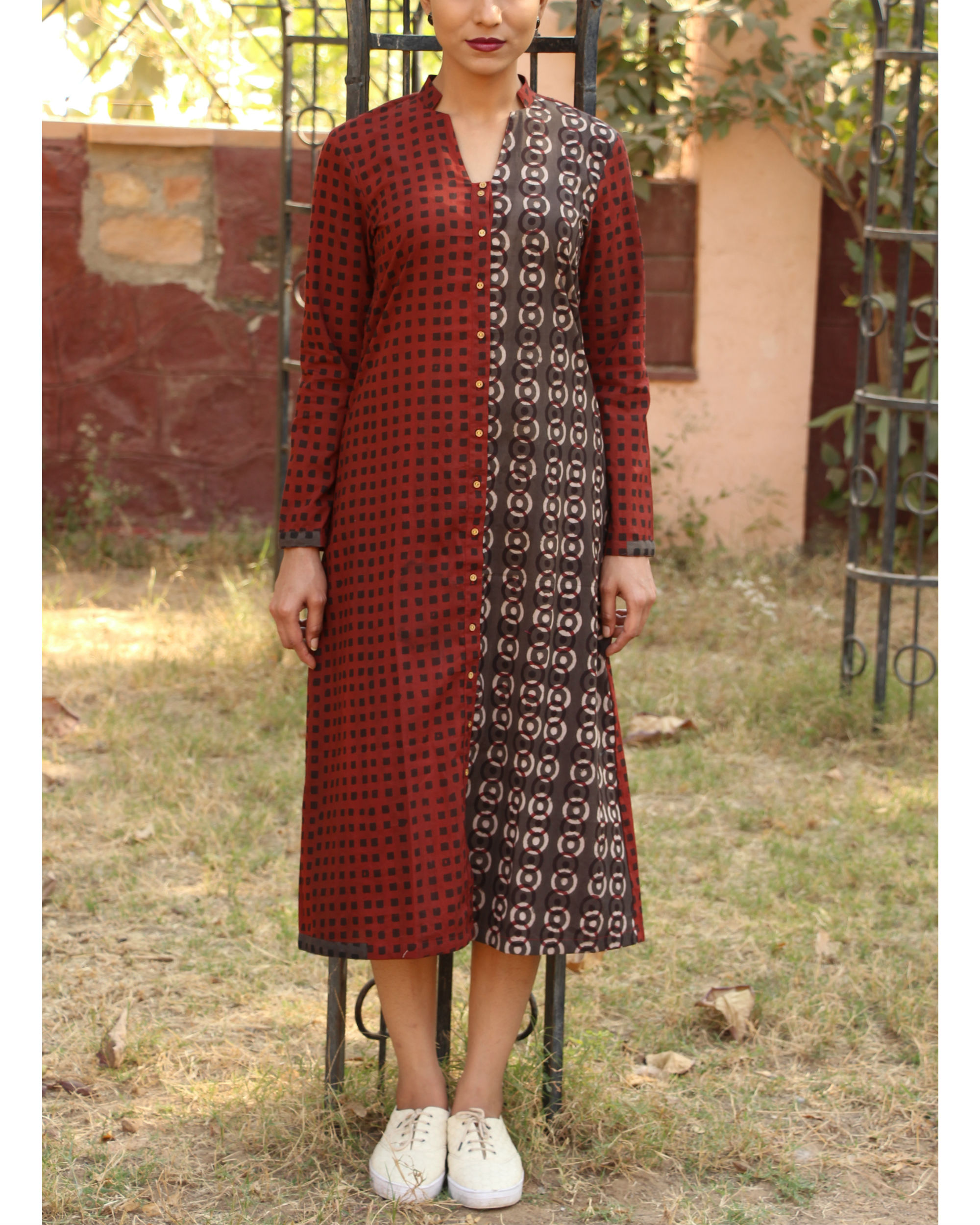 Maroon printed half and half tunic