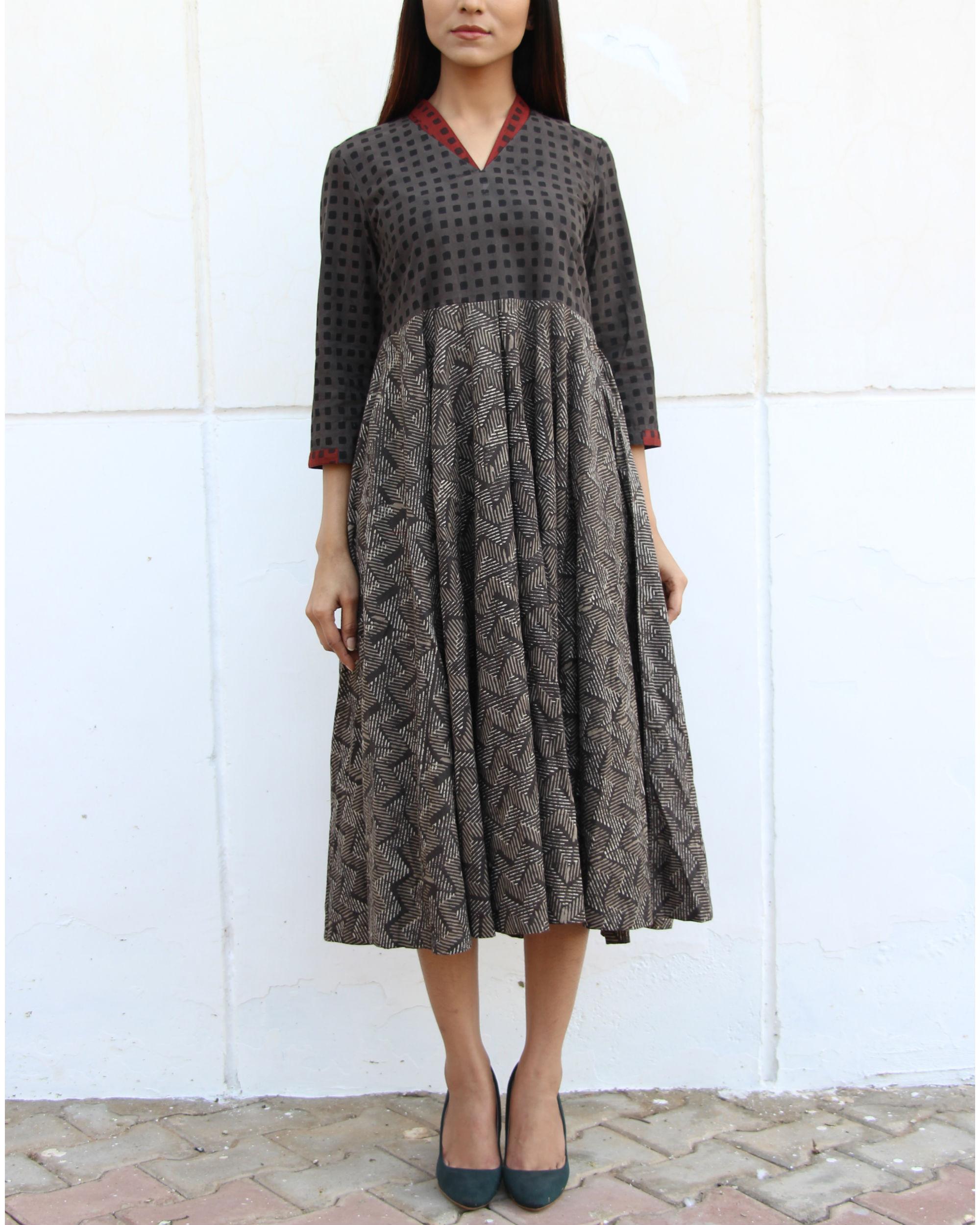 Grey checkered yoke gathered dress
