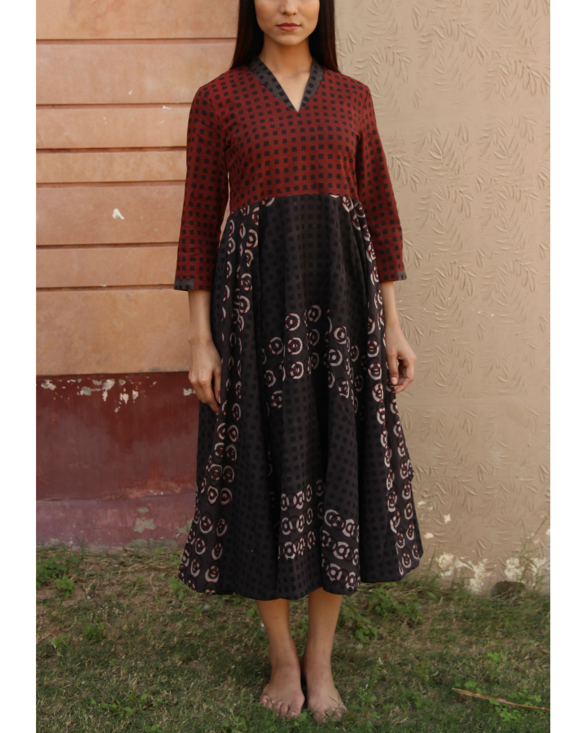 Maroon checkered yoke gathered dress