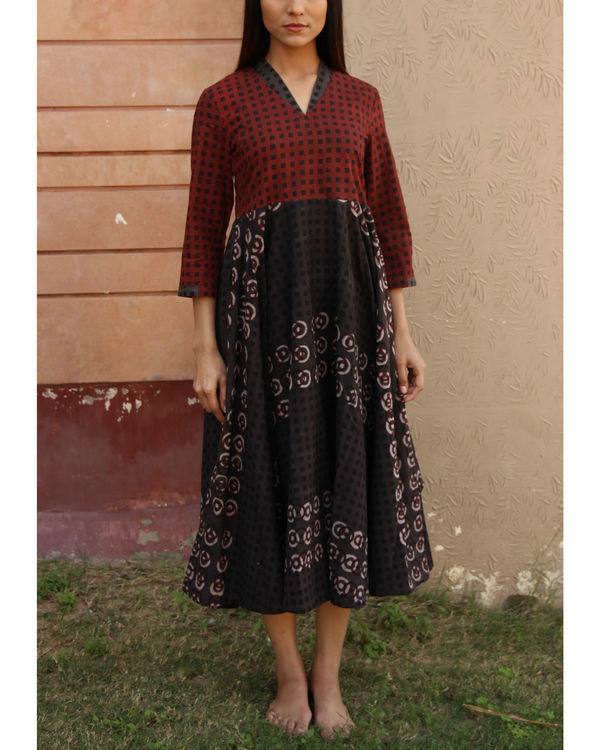 Maroon checkered yoke gathered dress