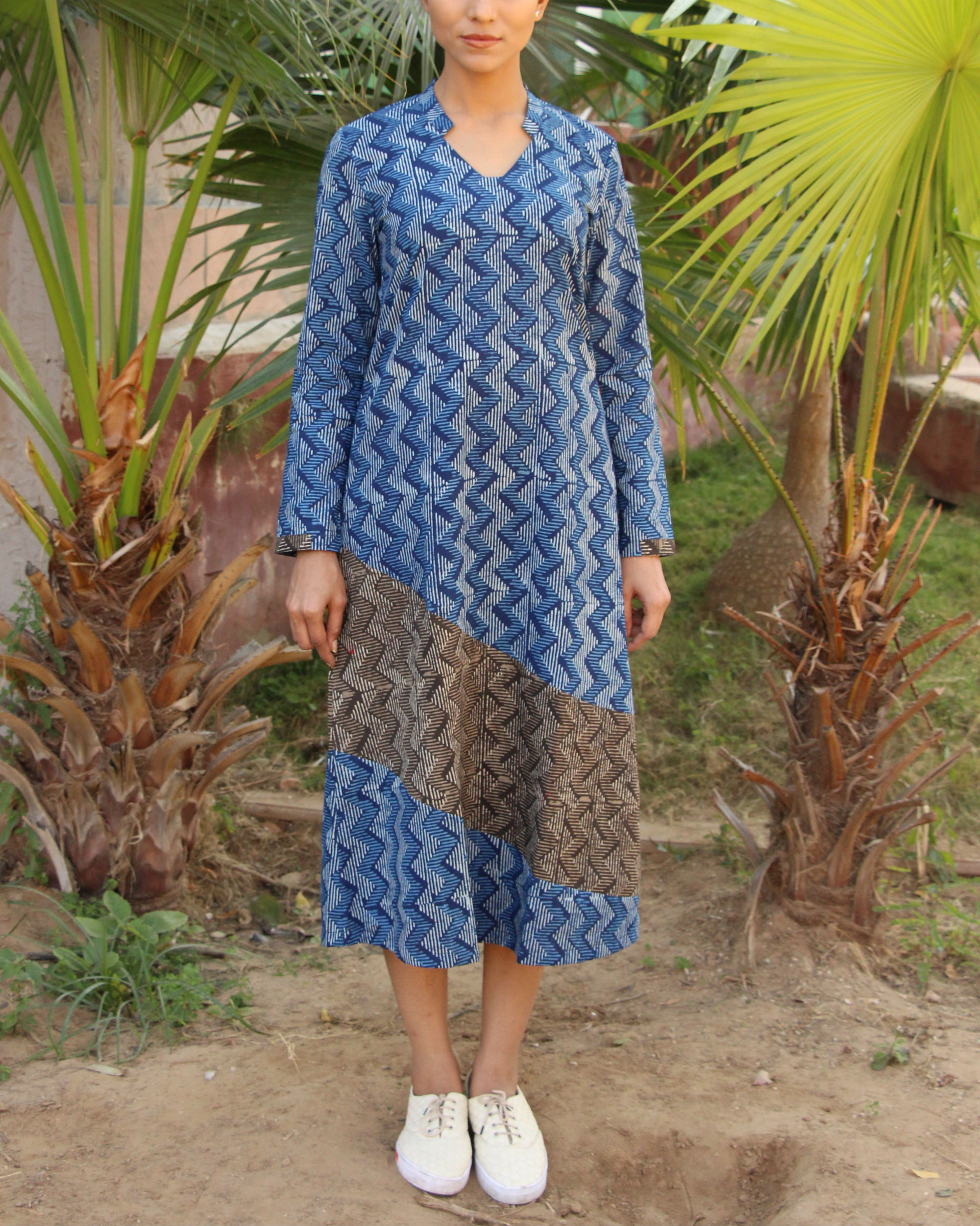 Blue and grey zig zag tunic
