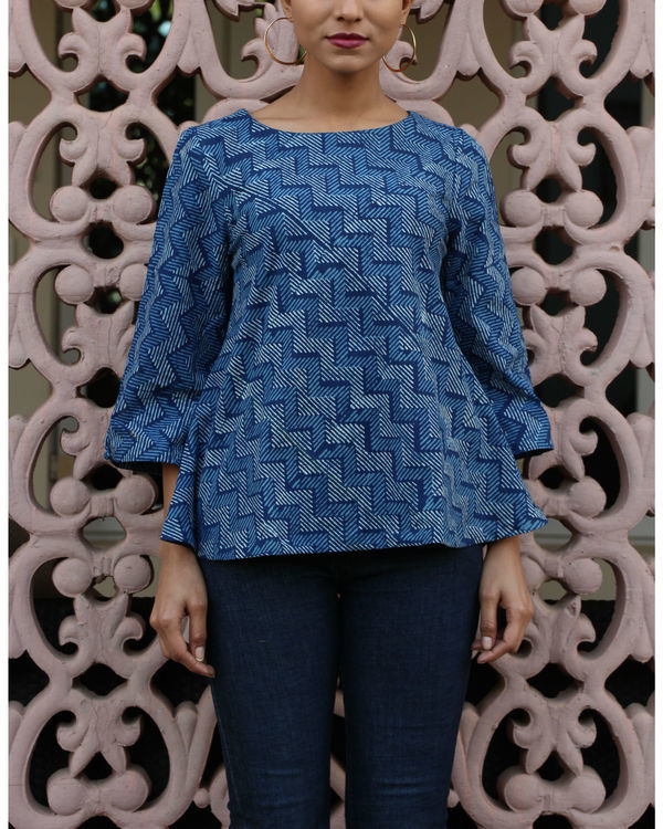 Indigo flared top