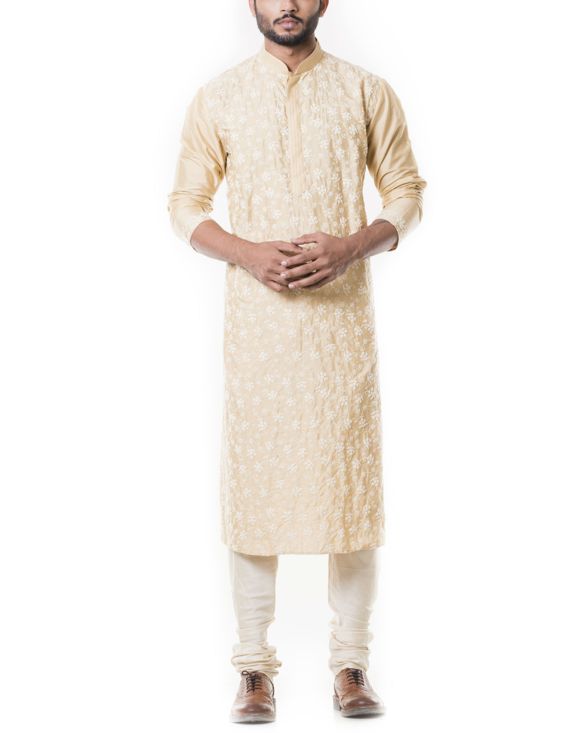 Sherwood tan kurta set with full dori embroidery