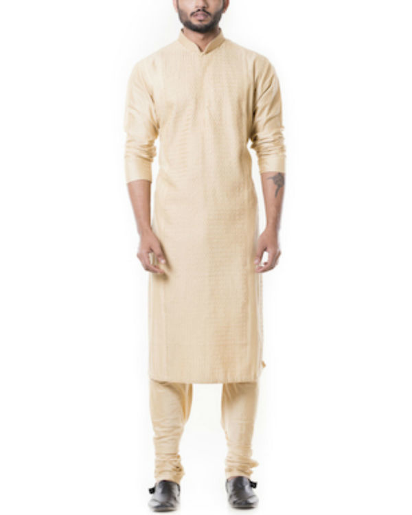 Sherwood tan pintucks kurta set