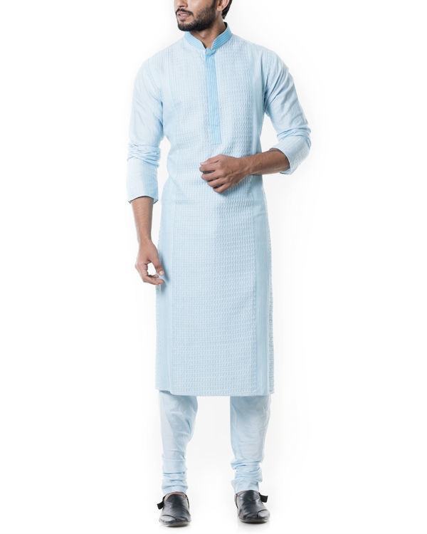 Blue pintucks kurta set