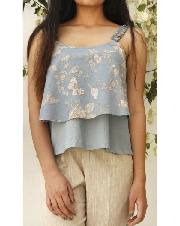 Blue layered ruffled top
