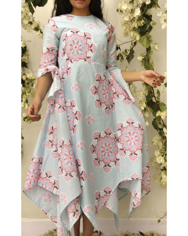 Asymmetric flared floral dress