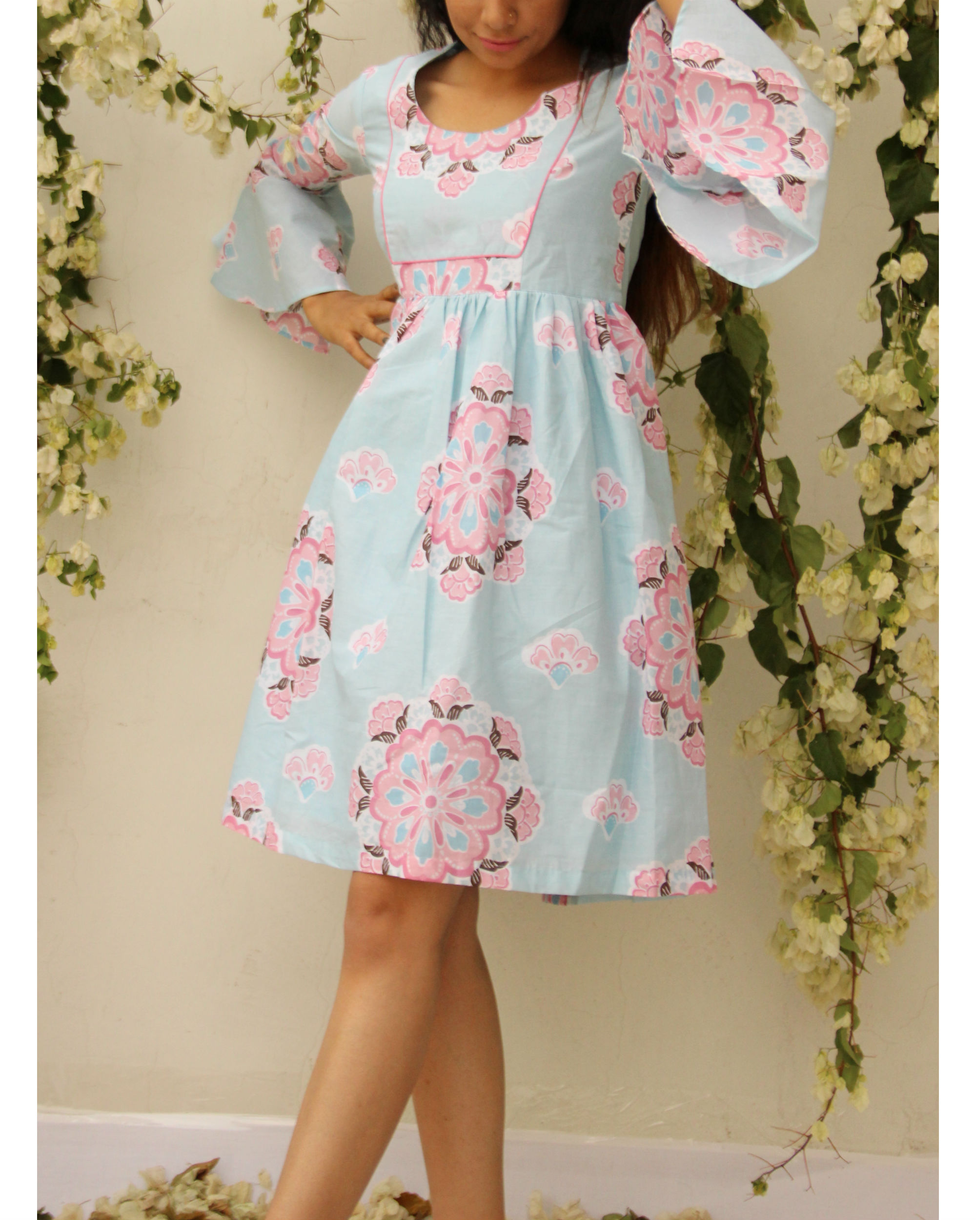 Floral umbrella sleeve dress
