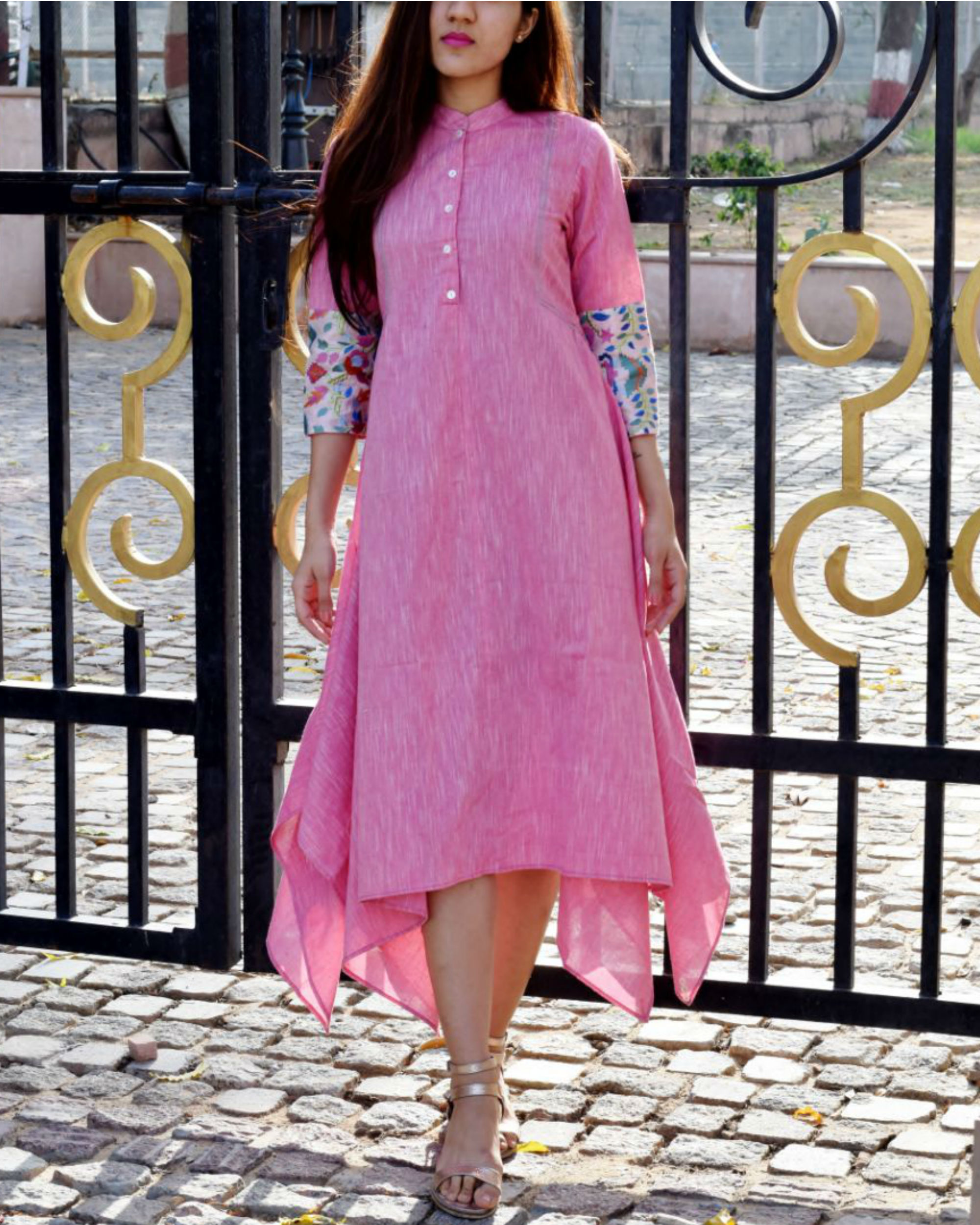 Pink embroidered boho tunic